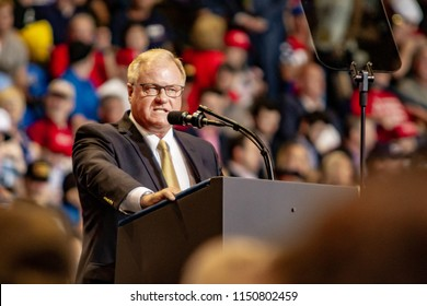 """WILKES-BARRE, PA - AUGUST 2, 2018: Scott Wagner delivers a speech during the """"Make America Great Again"""" rally at the Mohegan Sun Arena. Wagner is the Republican nominee for Governor of PA for 2018."""