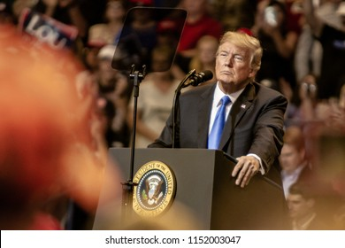 "WILKES-BARRE, PA - AUGUST 2, 2018: President Donald J. Trump looks on as the crowd reacts to his speech during the ""Make America Great Again"" rally held at the Mohegan Sun Arena."