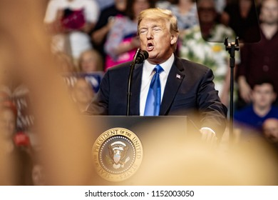 "WILKES-BARRE, PA - AUGUST 2, 2018: President Donald J. Trump delivers a speech during the ""Make America Great Again"" rally held at the Mohegan Sun Arena."