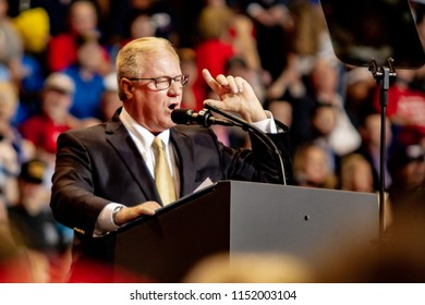 "WILKES-BARRE, PA - AUGUST 2, 2018: Scott Wagner delivers a speech during the ""Make America Great Again"" rally at the Mohegan Sun Arena. Wagner is the Republican nominee for Governor of PA for 2018."