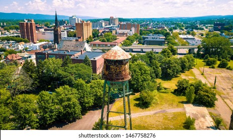 Wilkes-Barre, Pennsylvania cityscape with an old water tower in the foreground.
