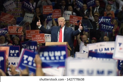 WILKES-BARRE, PENNSYLVANIA/USA – OCTOBER 10, 2016: Republican Presidential nominee Donald Trump appears during a rally Oct. 10, 2016, at Mohegan Sun Arena in Wilkes-Barre, Pennsylvania.