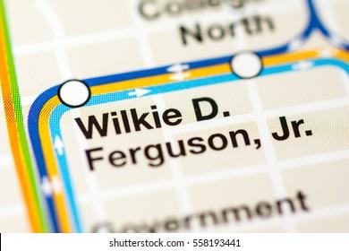 Wilkie D.  Ferguson Jr. Station. Miami metro map.