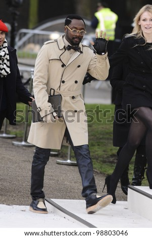 26d86a8a845f Will i Am arriving for the Burberry Prorsum fashion show as part of London  Fashion Week