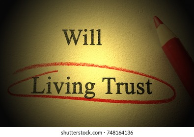 Will and Living Trust text with red pencil circle