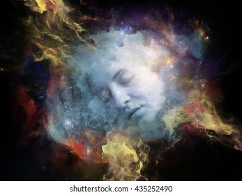 Will Universe Remember Me series. Composition of human face and fractal smoke nebula suitable as a backdrop for the projects on human mind, imagination, memory and dreams