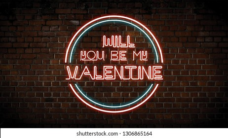 Will you be my valentine neon sign
