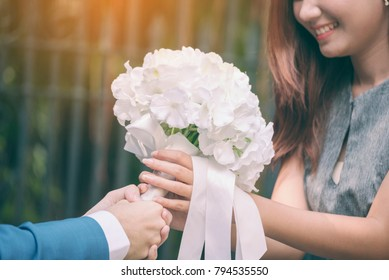 will you marry me ? yes I do. white wedding bouquet romantic bridal after engagement. Wedding lover concept.