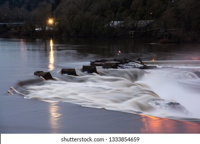 Willamette Falls along the Willamette River, in Oregon City, OR. U.S.A.