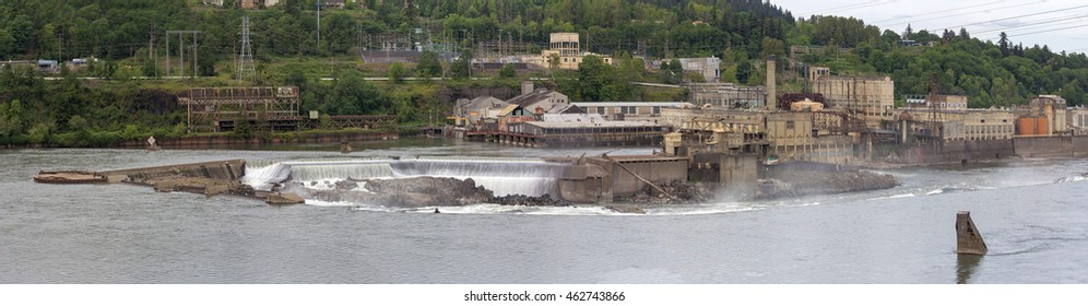 Willamette Falls Paper Mills Industrial Area Along Willamette River between Oregon City and West Linn Panorama