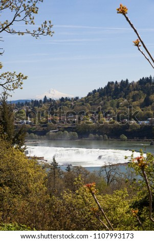 The Willamette River cascading over the rocks of Willamette Falls with Oregon City and Mt. Hood in the distance.