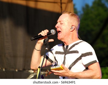 WILLAMSBURG,VA-JULY 11 : The B-52's Fred Schneider performs at Busch Gardens Theme Park,Willamsburg Virginia, July 11 2010