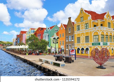 Willamstad, Curacao - 12/17/17:  Colorful downtown Willamstad, Curacao, in the  Netherland Antilles
