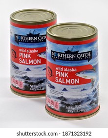 Willard, Missouri - December 10, 2020: Canned Salmon.  Northern Catch brand canned salmon sold exclusively by Aldi.  Product of USA. Editorial.