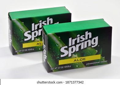 Willard, Missouri - December 10, 2020: Irish Spring deodorant soap with aloe is distributed by Colgate-Palmolive company, New York, NY. Editorial.