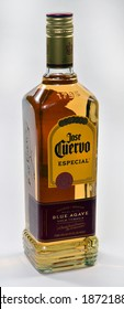 Willard, Missouri - December 11, 2020: Bottle of Jose Cuervo Especial Blue Agave Gold Tequila. Jose Cuervo is the best selling tequila in the world. Editorial.