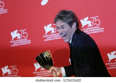 Willem Dafoe poses with the Coppa Volpi for Best Actor for 'At Eternity's Gate' at the Winners Photocall during the 75th Venice Film Festival on September 8, 2018 in Venice, Italy.