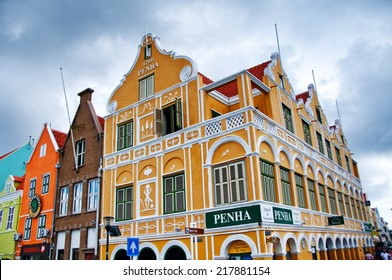WILLEMSTAD (CURACAO) - CIRCA DECEMBER 2013 - Punda district with its colorful dutch houses in Willemstad, Curacao