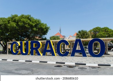 Willemstad, Curacao - December 10, 2013: Curacao logo in downtown of Willemstad on December 10, 2013 in Curacao, ABC Islands
