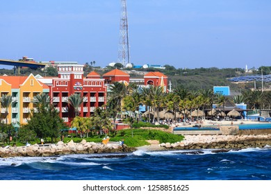 WILLEMSTAD, CURACAO - December 19, 2015: While still an industrial shipping port, Willimestad, with its colorful architecture is becoming a Caribbean tourist mecca and cruise ship destination