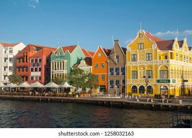 Willemstad / Curacao - December 20, 2015: historical buildings on the Handelskade in Punda
