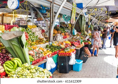 Willemstad, Curacao - December 26, 2016: The Floating Market In Punda