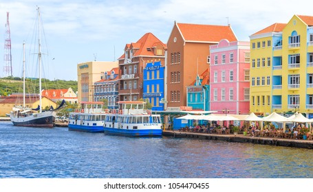 Willemstad, Curacao - December 27, 2016: View of The Colorful Buildings in Willemstad, Curacao
