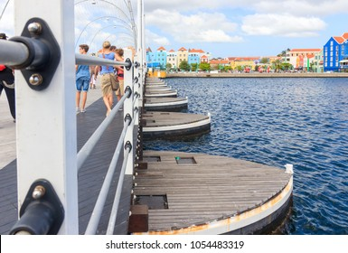 Willemstad, Curacao - December 27, 2016: The Queen Emma Bridge in Willemstad