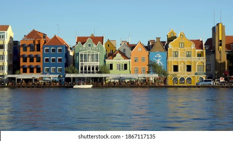 Willemstad, Curacao Dutch Antilles -  November 2019: A view on a colorful houses