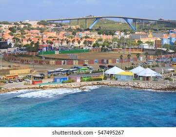 WILLEMSTAD, CURACAO - FEBRUARY 11, 2014: Willemstad port in Curacao island, Netherlands Antilles The city center is UNESCO World Heritage Site.