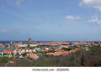 Willemstad, Curacao A high angle view showing downtown Willemstad. Punda and Otrabanda.
