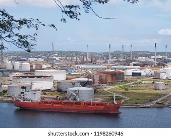 Willemstad, Curacao - March 26, 2017: The Isla Oil Refinery in Curacao is run by ConocoPhillips. Isla refines hundreds of thousands of barrels of oil a day for the Caribbean and Latin American markets