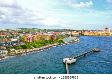 Willemstad, Curacao, Netherlands Antilles. Colourful houses and commercial buildings of Punda, Willemstad Harbor, on the Caribbean island of Curacao, Netherlands Antilles