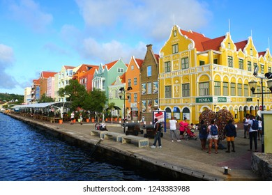 Willemstad, Curacao - November 14, 2018 - The view of the colorful buildings along the St Anna Bay during the day