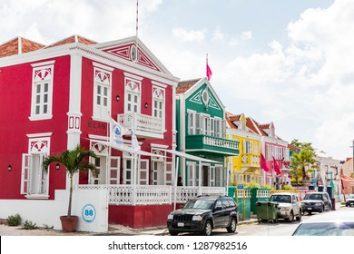 WILLEMSTAD, CURACAO- September 21, 2018: Willemstad is the capital city of Curacao, a Dutch Caribbean island. It's known for its old town center, with pastel-colored colonial architecture.