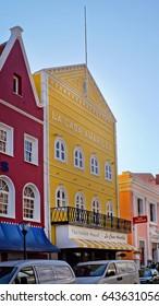 WILLEMSTAD, CURACAO - SEPTEMBER 9, 2011: On island between walls. Street view in Punda, Willemstad, Curacao.