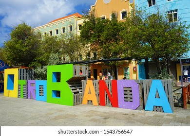 Willemstad, Curacao/The Netherlands Antilles - March 16, 2019: sign of one of the quarters of Willemstad named Otrobanda which means the other side.