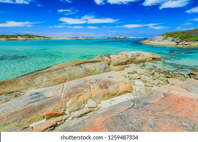 William Bay NP, Denmark and Albany Region, Western Australia. Sheltered waters of Madfish Bay surrounded by rock formations. Popular travel summer destination in Australia.