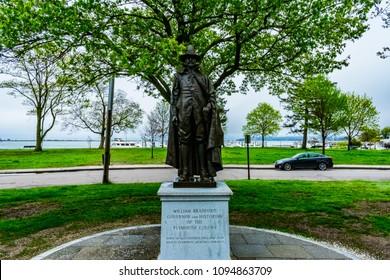 The William Bradford Memorial in Plymouth, MA. William Bradford was the first governor and historian of the Plymouth Colony.