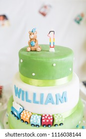William One Year Old Green and White Birthday Cake