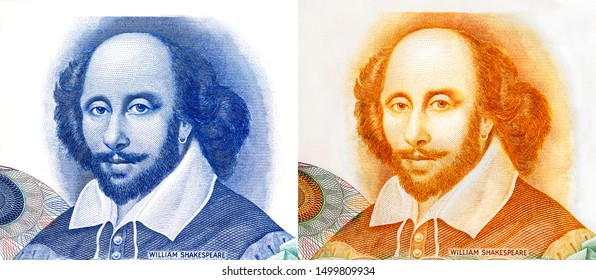 William Shakespeare. Is an English poet and playwright That is famous all over the world. Important person in the world. Portrait on 1 House Specimen, Test Note De La Rue banknotes. Collection