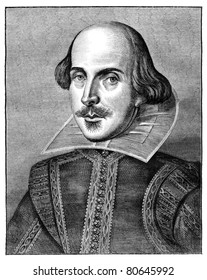 William Shakespeare, English poet and playwright. Engraving from The Leisure Hour Magazine april 1864.