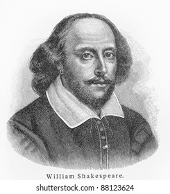 William Shakespeare - Picture from Meyers Lexicon books written in German language. Collection of 21 volumes published  between 1905 and 1909.