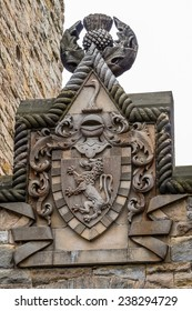 William Wallace coat of arms at The National Wallace Monument in Stirling, Scotland. This singular construction hosts exhibits and displays about the Scottish hero, known worldwide as Braveheart.