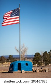 Williams, Arizona - January 10, 2014: View of the Flintstones Bedrock City theme park.
