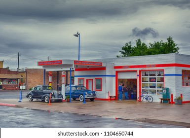 Williams, Arizona - July 24, 2017:  Pete's Gas station museum on July 24, 2017. It's been a station for a very long time but the current building was built in 1949.
