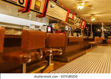 WILLIAMS, ARIZONA - JULY 3, 2007: The interior of the classic and famous Goldie's Diner 66 located in Williams along the route 66, Arizona.