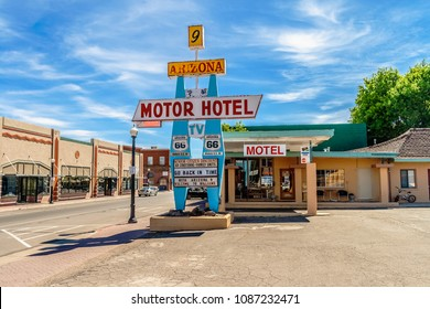 WILLIAMS, ARIZONA - JULY 3, 2007: The Arizona 9 Motor Hotel building in summer along the Route 66, located in Williams, Arizona.