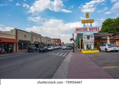 """Williams, Arizona: June 20, 2017:  Small town of Williams, Arizona. Williams is on world famous """"Route 66"""" and is also known as the """"Gateway to the Grand Canyon."""""""