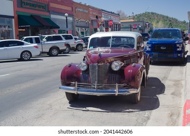 Williams, Arizona, USA - April 14, 2021: image of a 1940 Sixty Special Cadillac shown parked in the tourist town of Williams, also known as the Gateway to the Grand Canyon.
